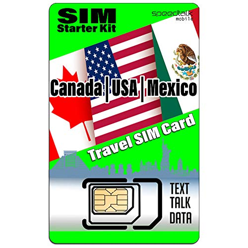 USA Canada Mexico Travel SIM Card Starter Kit - Talk Text Data - Compatible with All Unlocked GSM Phones