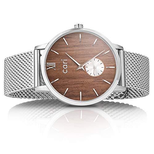 Cari Mesh Milanaise Holzuhr für Herren Männer mit Saphirglas (42mm) - Armbanduhr...