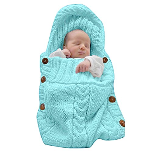 XMWEALTHY Newborn Baby Wrap Swaddle Blanket Knit Sleeping Bag Receiving Blankets Stroller Wrap for Baby(Sky Blue) (0-6 Month)