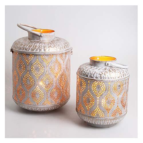Casa Moro Orientalische Laternen Suraya im 2er Set in Shabby Chic Weiss Gold aus Metall   Marokkanische Windlichter stehend & hängend   Tischlaterne für Hochzeit Feier Dekoration IRL5020
