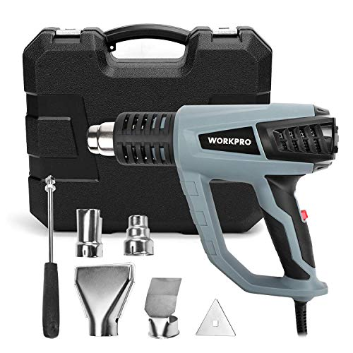 WORKPRO Heat Gun, Heavy Duty Hot Air Gun 1500W 122°F-1112°F(50°C-600°C) Variable Temperature Control,3 Modes with Four Metal Nozzle Attachments(UL)