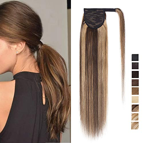 SEGO Ponytail Pferdeschwanz Haarteil Zopf extensions Haarverlängerung clip in Pony echthaar remy Hair Piece Mittelbraun/Honigblond 14