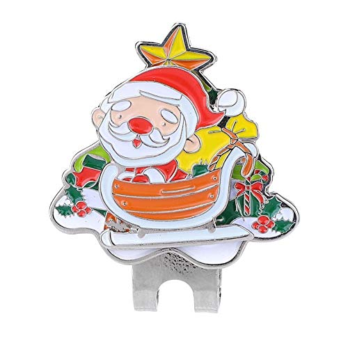 Starbun Golf Clip, Festival Art-Edelstahl-Golf-Hut-Klipp mit magnetischer Kugel-Markierung Zubehör Weihnachten