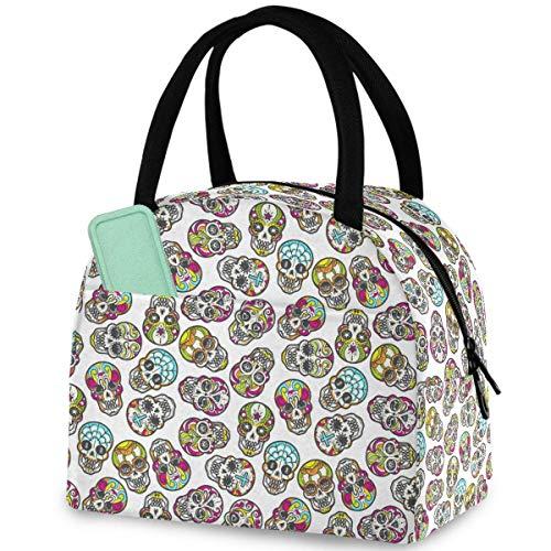 Bunte mexikanische Totenkopf-Muster, wiederverwendbare Lunch-Tasche mit Reißverschluss, isolierte Kühltasche für Männer, Frauen, Arbeit, Picknick, Reisen, Strand, Angeln