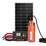 ECO-WORTHY Solar Well Pump System - 100W Solar Panel with 12V Deep Well Water Pump for Home Irrigation Ranch Farm