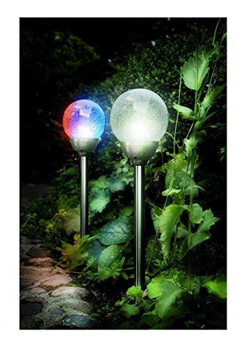 Cole & Bright 6765 - Color Changing Crackle Glass Classic Solar Ice Orb