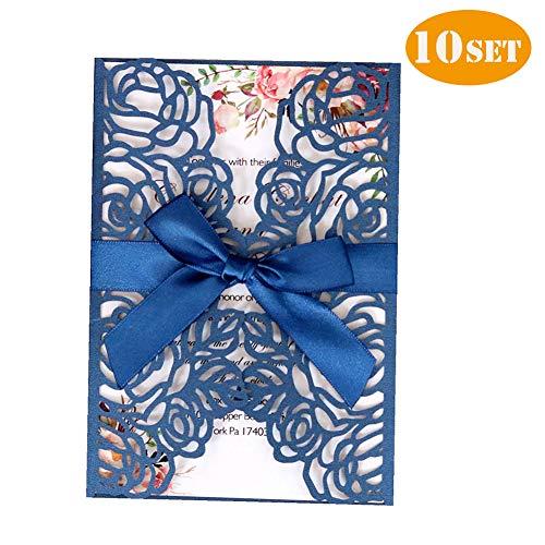 Tarjetas de invitación de boda, tarjeta de invitación floral de 10 unidades cortadas con láser para despedidas de soltera/ compromiso,incluye fundas+tarjetas en blanco+arcos de sobres,azul
