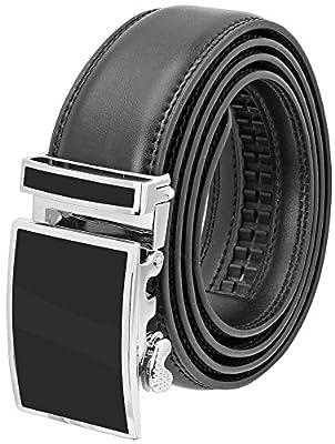 Falari Leather Dress Belt Ratchet Belt Holeless Automatic Buckle Adjustable Size 8001-SBK-XL44