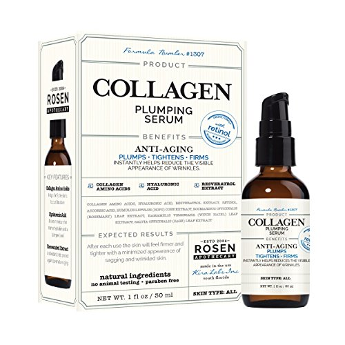 Collagen Plumping Serum with Retinol 1oz / 30ml, by Rosen Apothecary