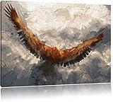 Aquila dipinto su tela 100x70cm, Immagini XXL completamente incorniciati con telai di grandi dimensioni cuneo. Stampa artistica su quadro a parete con cornice. Più economico di pittura o di un dipinto a olio, non un manifesto o poster.