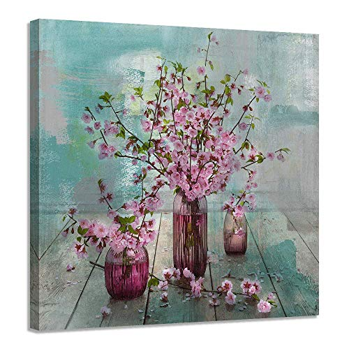 Acocifi Pink Flowers Pictures Natural art Watercolor Painting Vintage Canvas Wooden Framed Wall Art Aqua Simple Artwork-14'x14' for Living Room Office Home Bedroom Kitchen Dinning Room Decor One Panel, Gallery Wrapped