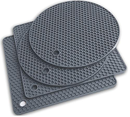 Silicone Trivet Mats - Pot Holders - Drying Mat Our potholders Kitchen Tool is Heat Resistant to 440°F, Non-slip durable flexible easy to wash and dry and Contains 4 pcs Gray by Q's INN.