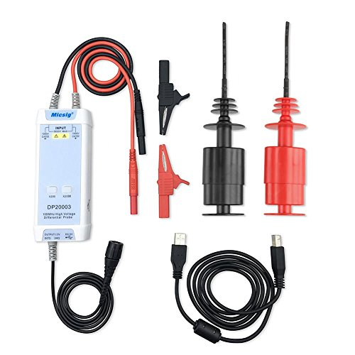 Akozon High Voltage Differential Probe DP20003 200X/2000X Attenuation 100MHz 3.5ns Rise Time 50X-500X Attenuation Oscilloscope Probe Rate Overroad Alarm Accuracy ±2%