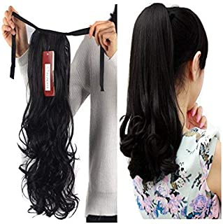 Haironline One Piece Tie Up Ponytail Clip in Hair Extensions Hairpiece Binding Pony Tail Extension for Girl Lady Woman natural black