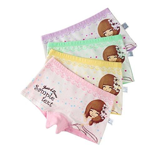 FAIRYRAIN 4 Packung Baby Kleinkind Mädchen Weiche Baumwolle Baumwollunterhosen Pantys Hipster Shorts Spitze Unterwäsche 2-4 Jahre