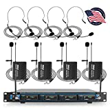 4 Channel Wireless Microphone System - Professional VHF Audio Mic Set with 1/4', XLR Jacks - 4 Headset and 4 Clip Lavalier Lapel Mic, 4 Transmitter, Receiver - For Karaoke, PA, DJ - Pyle PDWM4400