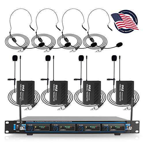 """4 Channel Wireless Microphone System - Professional VHF Audio Mic Set with 1/4"""", XLR Jacks - 4 Headset and 4 Clip Lavalier Lapel Mic, 4 Transmitter, Receiver - For Karaoke, PA, DJ - Pyle PDWM4400"""