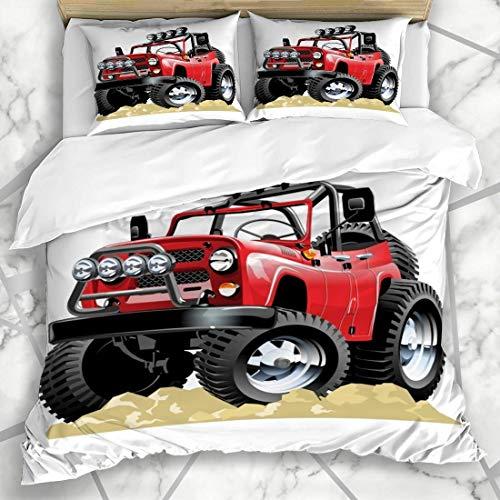 Funda de edredón para coche, vehículo Oneclick Repaint Jeep Road Off 4 x 4 Camión Safari baja microfibra ropa de cama con 2 fundas de almohada