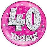 Islander Fashions Girls Happy Birthday Party Globos de lujo Childs Pink Blue Globos hologr�ficos Accesorios Pink 40 Year