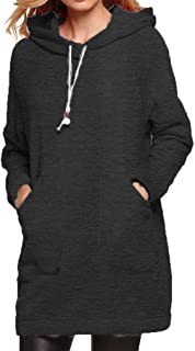 Qearl Women Autumn Loose Warm Pocket Pullover Hoodie Tunic Sweatshirt