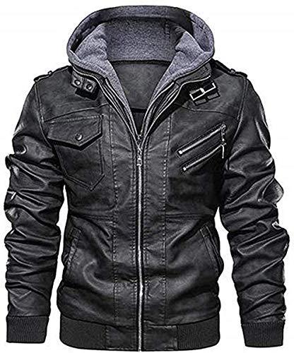 mens biker leather jacket black