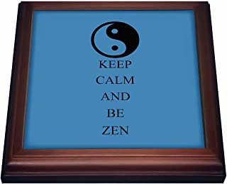 3dRose trv_164509_1 Keep Calm and be Zen Inspirational Yin Yang Trivet with Ceramic Tile, 8 by 8