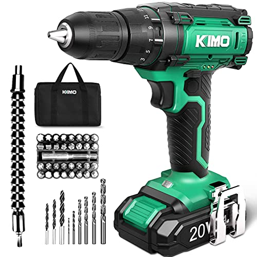 KIMO Cordless Drill Set, 20V Cordless Drill with Battery and Charger, 350 In-lb Torque, 3/8' Keyless Chuck, 21+1+1 Clutch, Variable Speed, 46pcs Accessories, Power Drill Driver for Drilling Wood Metal