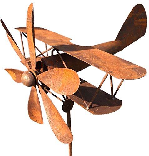 Crispe Metall Windrad \'Flugzeug\' - massives Windspiel Windmühle für den Garten - wetterfest und standfest - mit bestem Kugellager - aus Vollmetall mit Edelrost-Patina – Höhe 167 cm