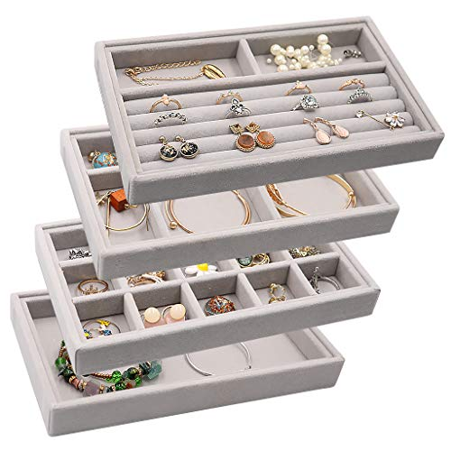 Velvet Jewelry Drawer Inserts Trays Earring Organizer Stackable Jewelry Display Trays Box Ring Holder Necklace Case Storage for Bracelet Brooch Watch Set of 4 Gray