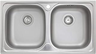 Küchenspüle 2 Becken Spüle Edelstahl ED 7843 Doppelbecken mit Hahnloch