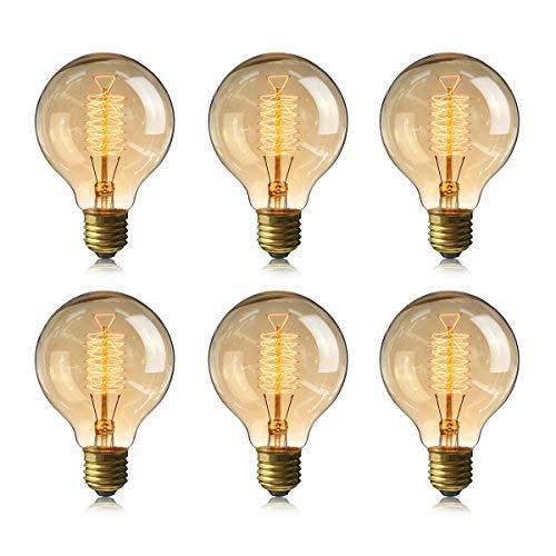 Globe Edison Bulbs, 6-Pack 60w Vintage Edison Light Bulb, Spiral Filament Edison Bulbs, E26 Base - Amber Tinted - 110V - Dimmable - G80 Decorative Lightbulbs