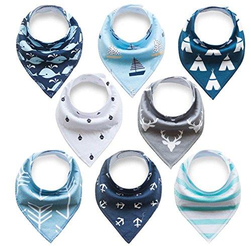 Yafane Driehoekige slabbetjes voor baby's, 8 stuks, halsdoek, spuugdoek, slabbetje met drukknop, voor baby's, jongens en meisjes, peuters, absorberend, zacht, in grootte verstelbaar