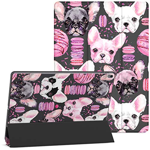 Mertak Case Compatible with iPad Pro 11 2020 12.9 inch Air 4th 3 2 10.2 8th 2018 10.5 9.7 Mini 5 Smart Cover Dogs Macaroons French Bulldog Magnetic Animals Protective Donuts Cute Flip