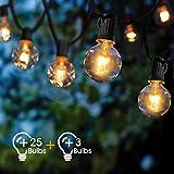 Guirlande Lumineuse Intérieur et extérieur,VIFLYKOO Guirlande Guinguette de 25+3 Ampoules étanche 9.5M Blanc Chaud ampoule Décoration pour Patio,Café,Jardin,Parti,de noël,Vacances