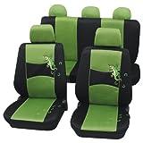 Cartrend 60222 Set completo cubreasientos Gecko Mesh, verde, con bolsillo porta - documentos
