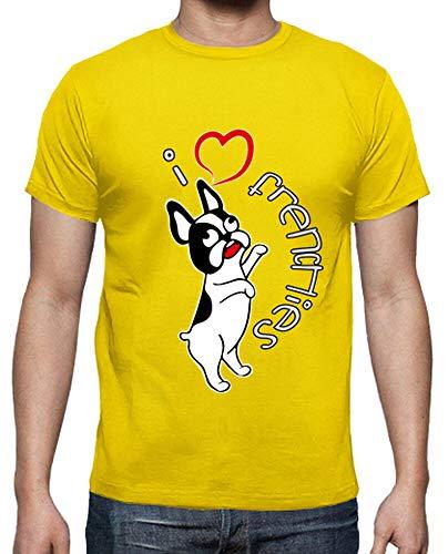 latostadora - Camiseta I Love Frenchies para Hombre Amarillo limón S