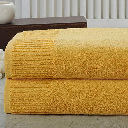 YHWW Toalla de baño,Toalla de baño 100% algodón Espesa de 700 g para Adultos para Viajes a casa Toalla de baño Facial súper Absorbente Toallas de baño SPA Sauna, Amarillo, Juego de 3 Toallas