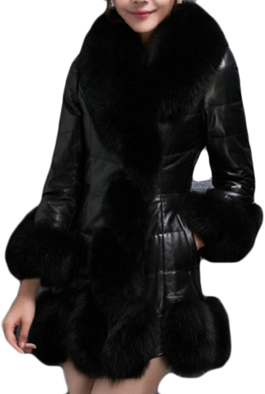HTOOHTOOH Women Faux Fur Collar Pu Leather Thick Down Jacket Coat