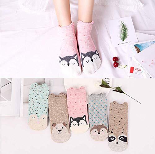 GOUGAJI Socken 5 Paar Frauen Socken glücklichlustige Socken Baumwolle Sommer Sockenlässig atmungsaktiv Coole Socken niedlich Ohr Söckchen MA