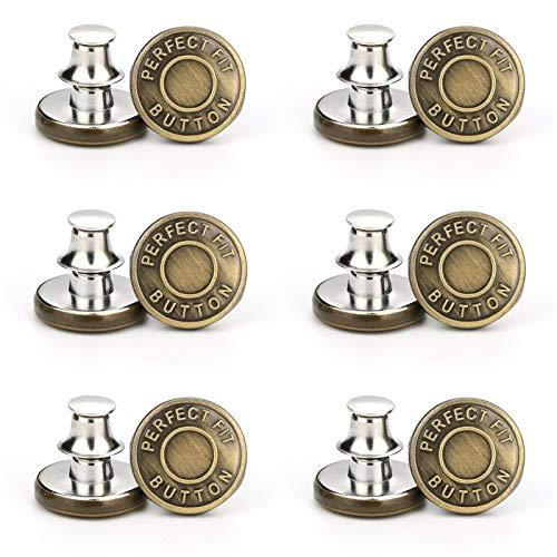 XIAMUSUMMER 12 Sätze 17mm Ersatz Jean Buttons, No Sew Instant Button Abnehmbare Hosen Button Pins, Abnehmbarer Metallknopf, Cowboy Clothing Jackets Taschen Button