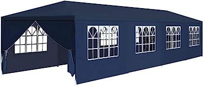 XINGLIEU Carpa de jardín 3 x 12 x 2, 55 m Azul pérgola toldo Material: Techo de Tela y Paneles Laterales + Marco de Acero: Amazon.es: Jardín