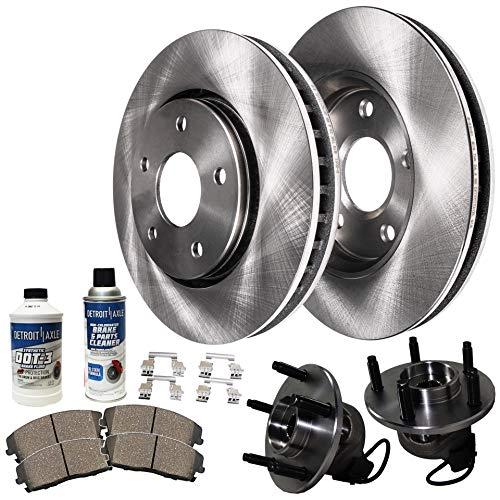 Detroit Axle - Front Wheel Hub Bearing Assembly, 296mm Disc Brake Kit Rotors w/Ceramic Pads w/Hardware & Brake Kit Cleaner for 2009-2012 Chevy Malibu - [09-10 Pontiac G6 GT/GXP] - 09 Saturn Aura
