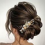 Vakkery Horquillas para el pelo de la boda de la flor de cristal dorado, accesorios para el pelo de novia para mujeres y niñas