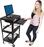 Line Leader AV Cart on Wheels | Height Adjustable Top Shelf & Pullout Keyboard Tray | Includes 15 ft Power Cord with Cord Management | Easy Assembly (42in x 24in x 18in / Black)