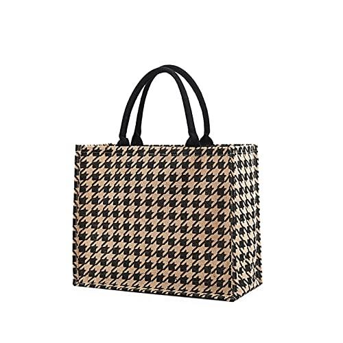 yqs Strandtasche Frauen Sommer Luxus Jute handtaschen für Strand Vintage Schlucken grud Druck umhängetaschen täglich benutzung weibliche Leopard (Color : Vintage B1, Size : 42x33x18cm)