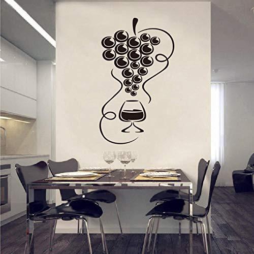 Pegatinas De Pared,Etiqueta Engomada Gourmet Uva Y Vino Vidrio De Vinilo Aplicar Pared Refrigerador Refrigerador Pegatina De Cocina Artista Decoración-Los 55X105Cm
