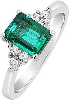 MILLE AMORI ∞ - Anello di fidanzamento da donna in oro e diamanti ∞ oro bianco 9 kt 375 diamanti 0,09 carati ∞ smeraldo si...