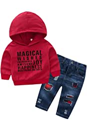 BOBORA Ensemble B/éb/é Gar/çon V/êtements Manche Longues Gar/çon Enfants 2PCs Sweat-Shirt /à Capuche avec Pantalon de Renards en Coton pour 0-4Ans