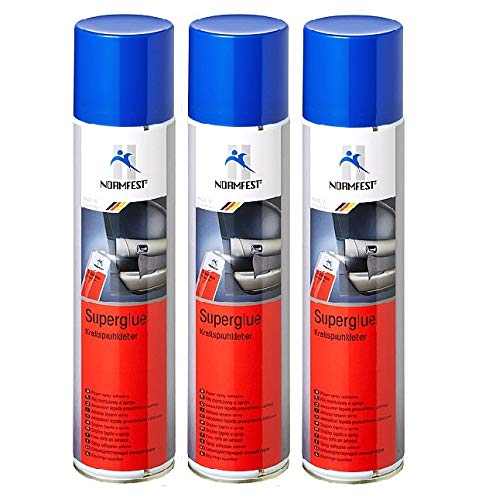 Normfest 3X Kraftsprühkleber Super-Glue Kleber Sprühkleber Transparent 400ml / pro Dose inkl HS