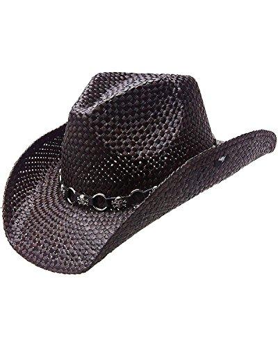 Peter Grimm Ltd Men's Vado Skulls And Rings Hat Band Straw Cowboy Black One Size